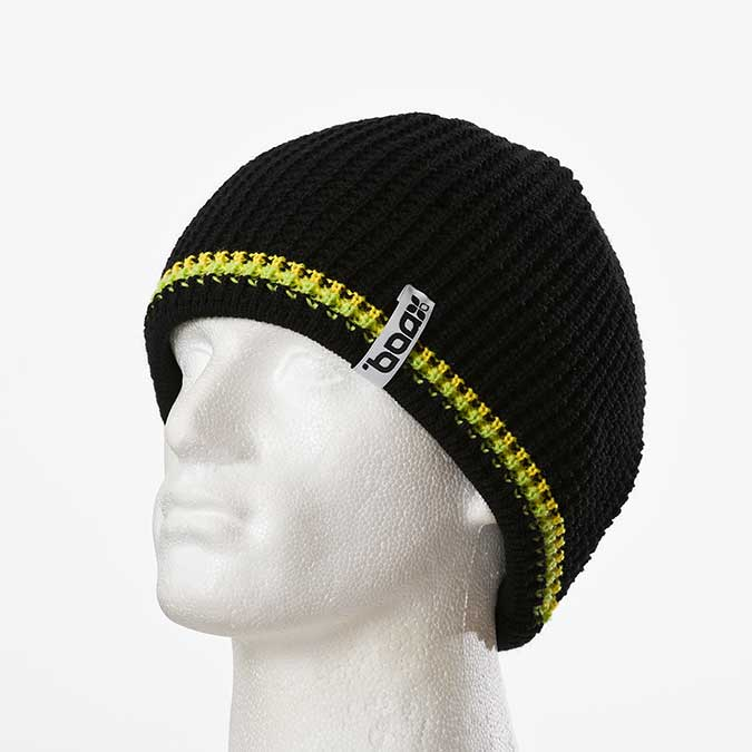 Double Trim machine-knitted beanie (Black)