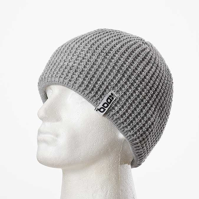 Plain machine-knitted beanie (Grey)