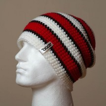 Baggy, Sep. stripes (White/Deep red/Black)