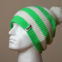 Baggy, Pompom, Wide stripes (Bright green, White)
