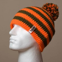 Loose, Pompom, Narrow stripes (Orange/Brown)