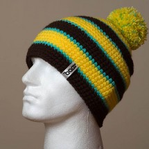 Loose, Pompom, Narrow stripes (Dark brown/Light yellow/Turquoise)