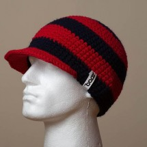 Fitted, Visor, Wide stripes (Navy/Deep red)