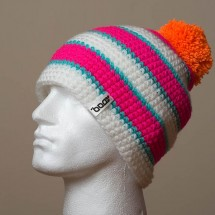 Loose, Pompom, Sep. stripes (White/Hot pink/Turquoise)