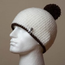 Fitted, Pompom, Trim (White/Black)