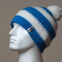 Loose, Pompom, Wide stripes (Sky blue/White)