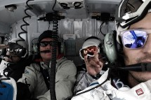 In the heli with Candide, Eagle Pass guide, Skye, Matt Pain. Credit: Matt Pain/Process Films