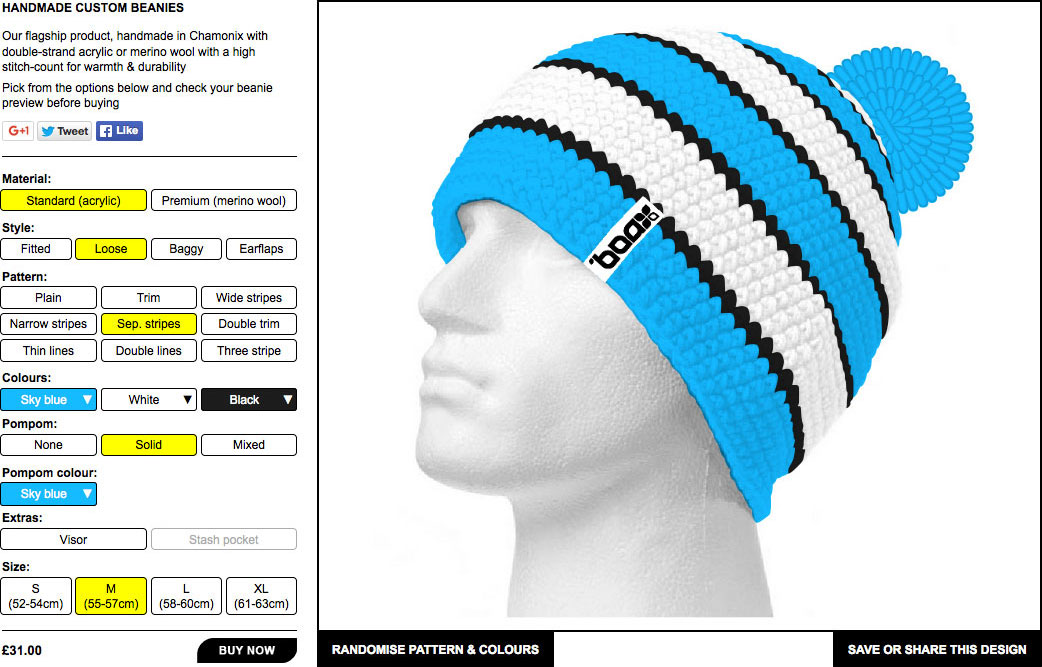 Handmade custom beanies by Boax Clothing - see a live preview of your beanie before buying